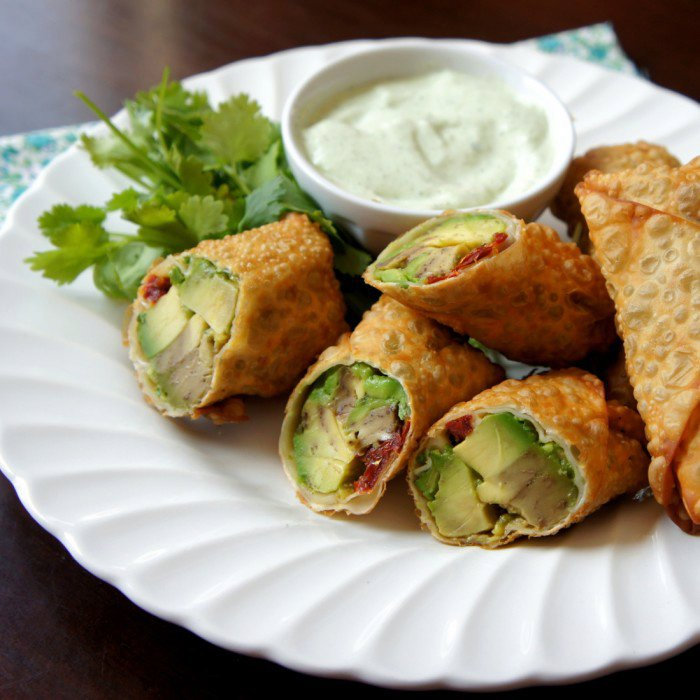 Avocado Egg Rolls with a Creamy Cilantro Ranch Dip